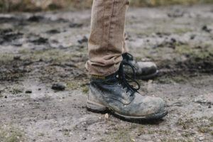 contractor - muddy work boots