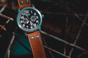 contractor - watch face with brown leather band